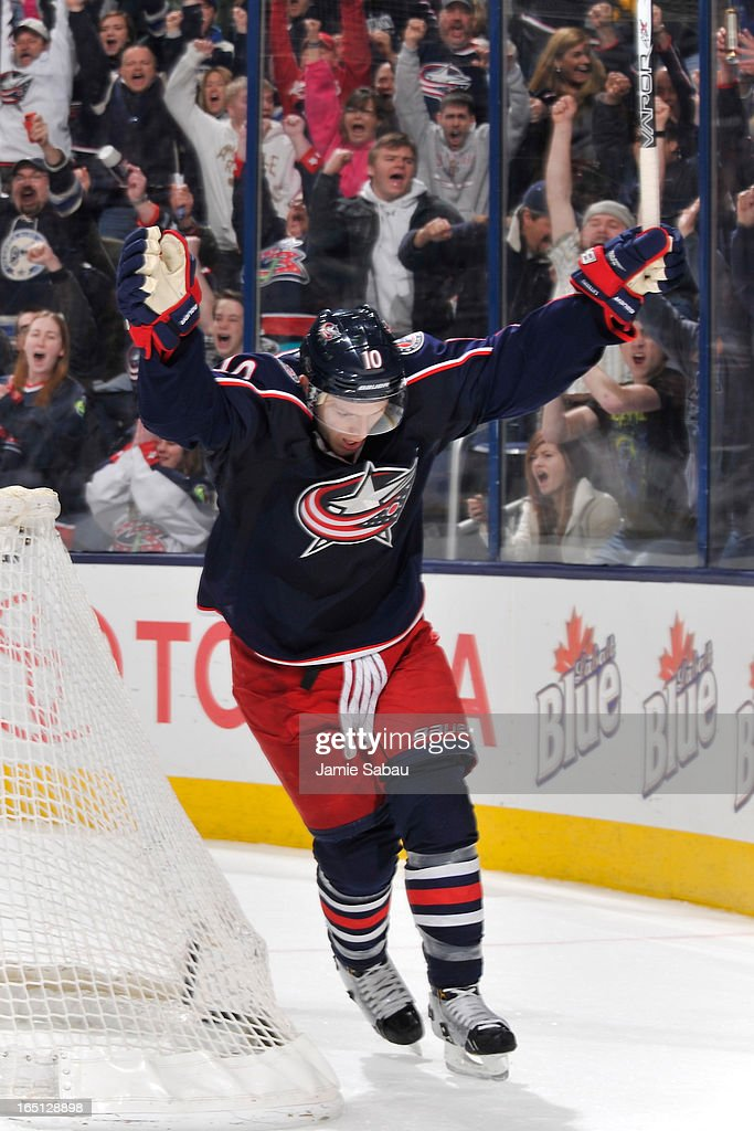 Mark Letestu #10 of the Columbus Blue Jackets celebrates after scoring a game-winning overtime goal against the Anaheim Ducks on March 31, 2013 at Nationwide Arena in Columbus, Ohio. Columbus defeated Anaheim 2-1 in overtime.