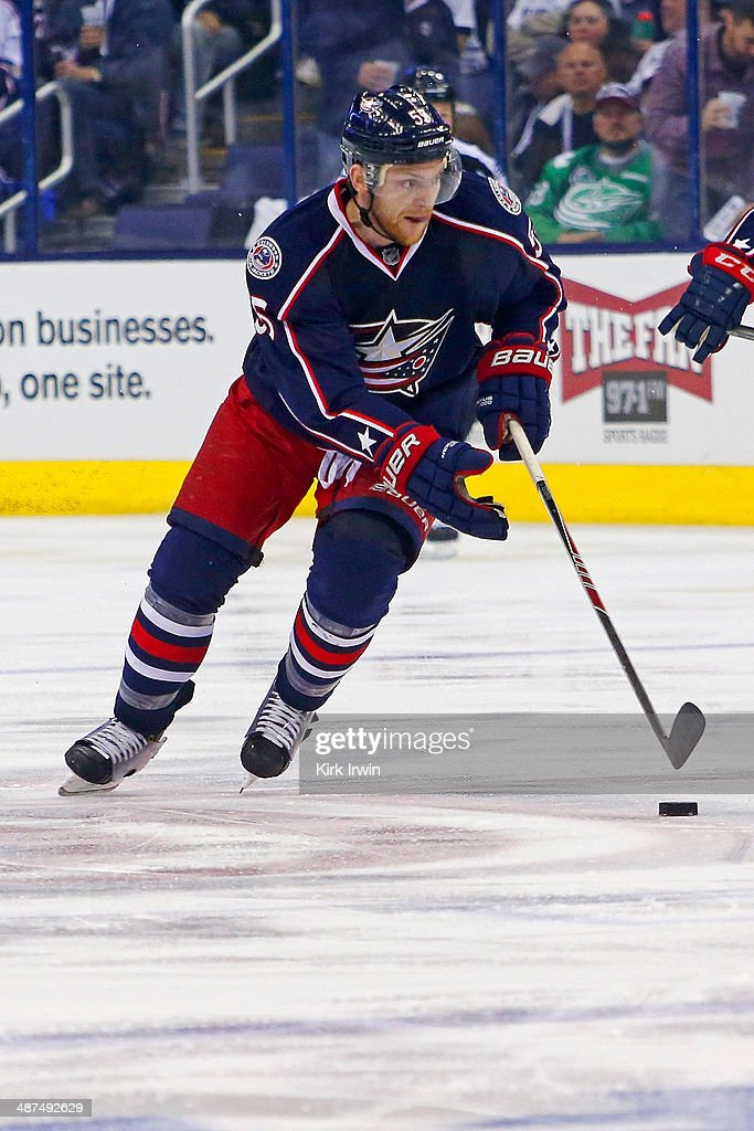 Mark Letestu of the Columbus Blue Jackets controls the puck during Game Six of the First Round of the 2014 NHL Stanley Cup Playoffs against the...