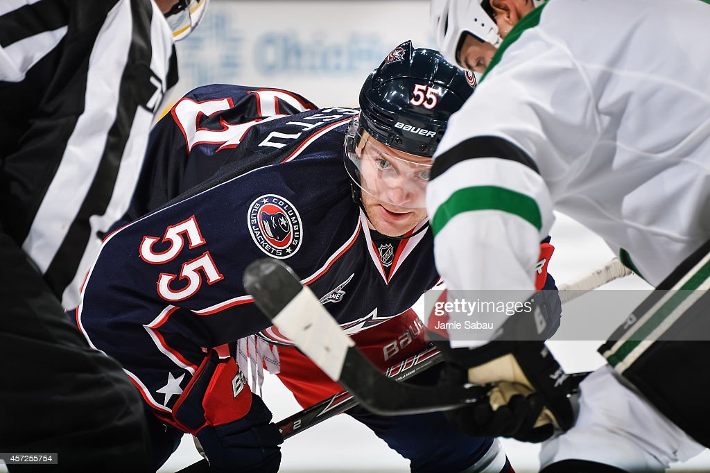 Mark Letestu of the Columbus Blue Jackets gets ready to take a face off against the Dallas Stars on October 14 2014 at Nationwide Arena in Columbus...