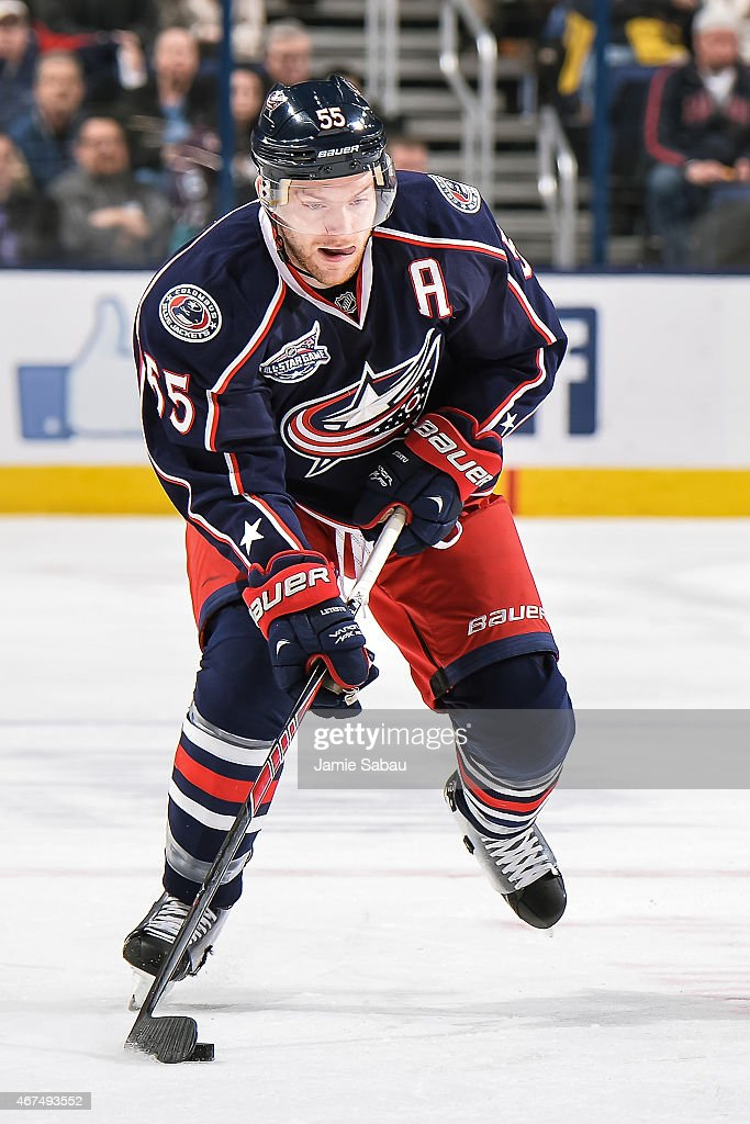 Mark Letestu of the Columbus Blue Jackets skates against the Anaheim Ducks on March 24 2015 at Nationwide Arena in Columbus Ohio