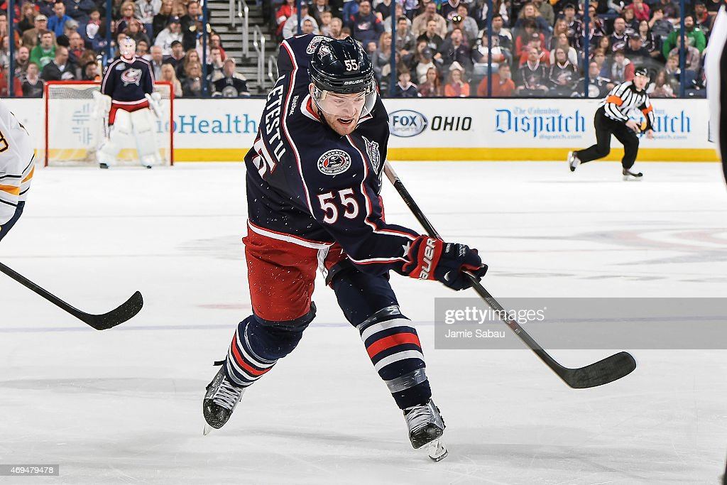 Mark Letestu of the Columbus Blue Jackets skates against the Buffalo Sabres on April 10 2015 at Nationwide Arena in Columbus Ohio