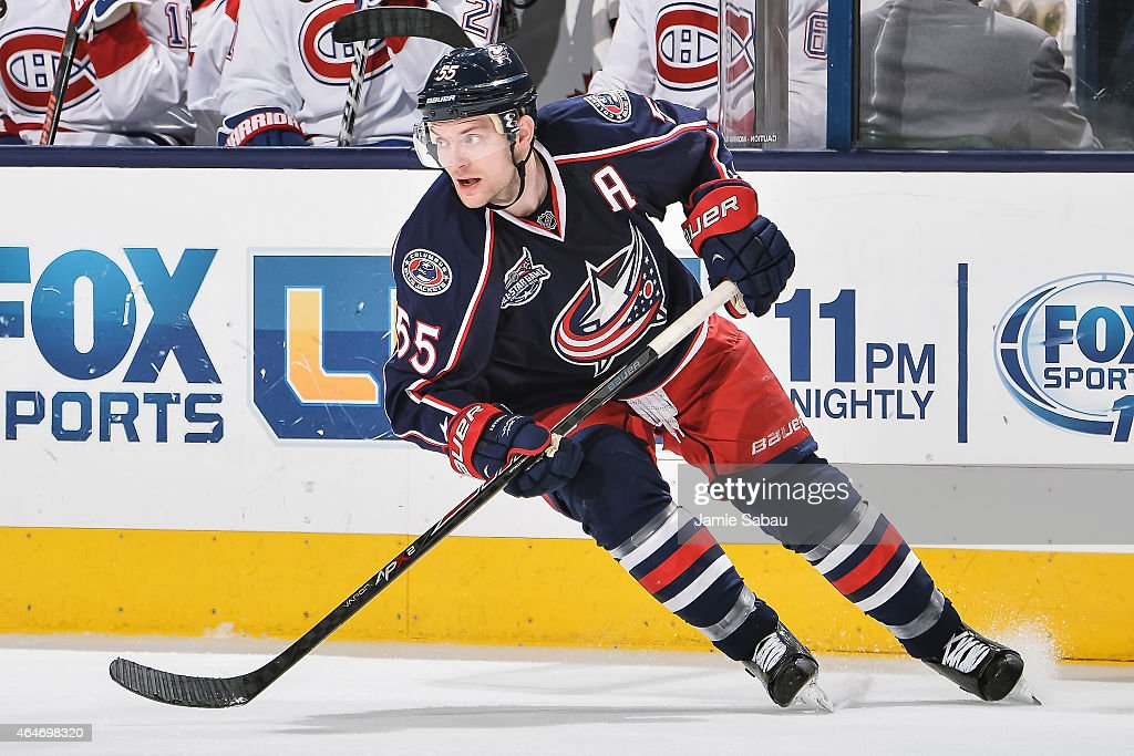 Mark Letestu of the Columbus Blue Jackets skates against the Montreal Canadiens on February 26 2015 at Nationwide Arena in Columbus Ohio
