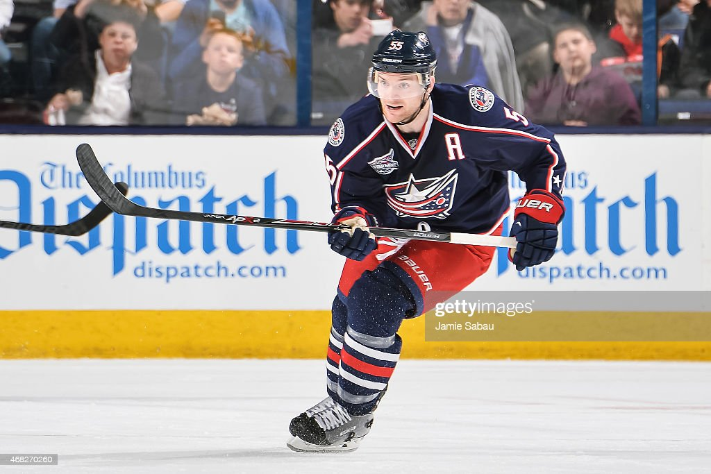 Mark Letestu of the Columbus Blue Jackets skates against the New Jersey Devils on March 31 2015 at Nationwide Arena in Columbus Ohio