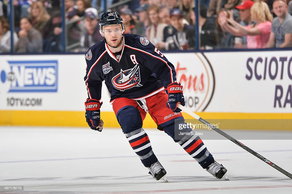 Mark Letestu of the Columbus Blue Jackets skates with the puck against the New York Rangers on October 11 2014 at Nationwide Arena in Columbus Ohio