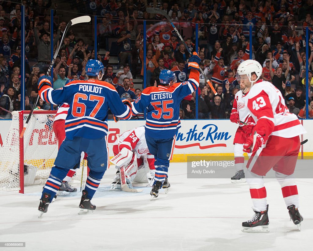 Mark Letestu of the Edmonton Oilers celebrates after scoring a goal against Petr Mrazek of the Detroit Red Wings on October 21 2015 at Rexall Place...