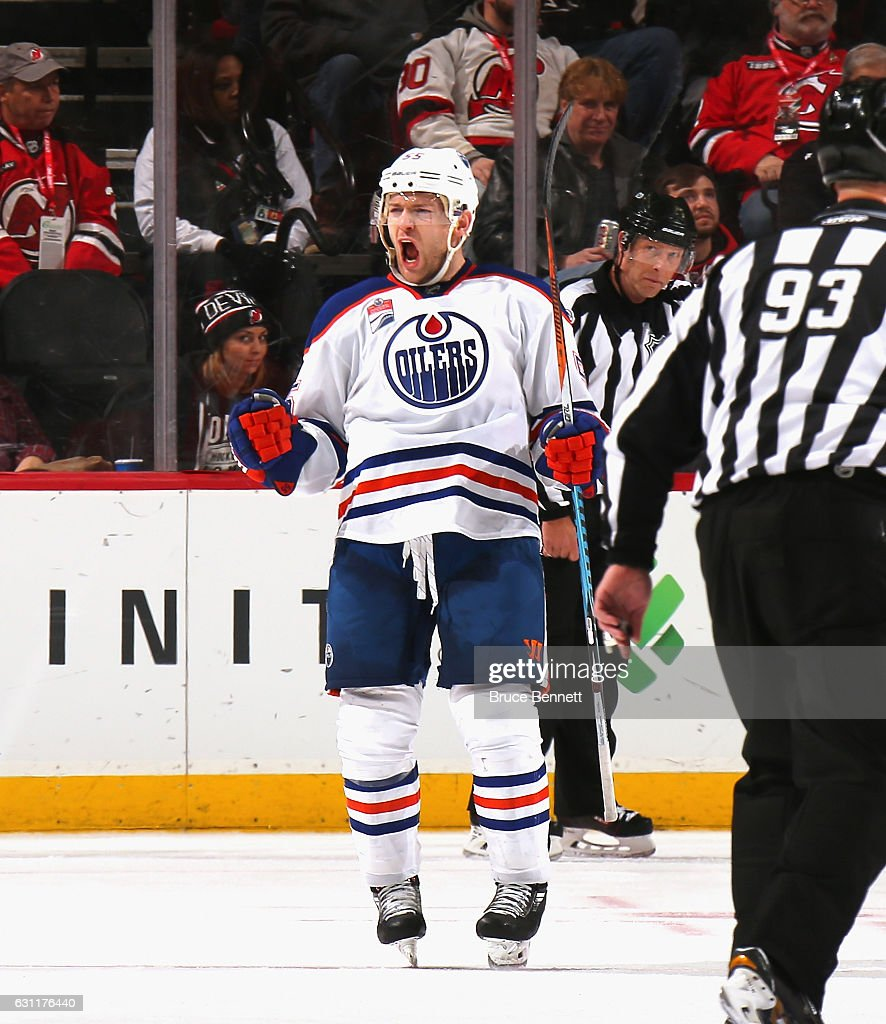 Mark Letestu #55 of the Edmonton Oilers celebrates his game winning powerplay goal at 3:59 of overtime against the New Jersey Devils at the Prudential Center on January 7, 2017 in Newark, New Jersey. The Oilers defeated the Devils 2-1 in overtime.
