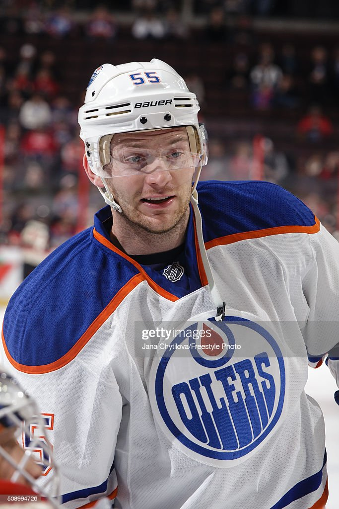 Mark Letestu of the Edmonton Oilers looks on during warmups prior to an NHL game against the Ottawa Senators at Canadian Tire Centre on February 4...
