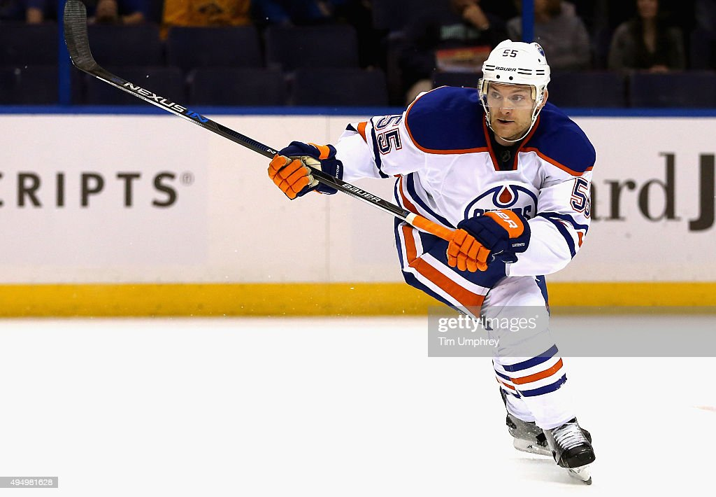 Mark Letestu of the Edmonton Oilers plays in the game against the St Louis Blues at the Scottrade Center on October 7 2015 in St Louis Missouri