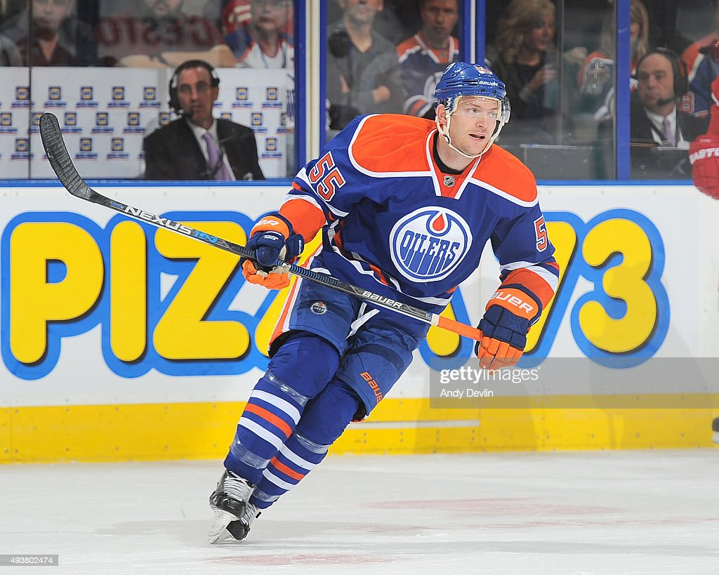 Mark Letestu of the Edmonton Oilers skates during a game against the Detroit Red Wings on October 21 2015 at Rexall Place in Edmonton Alberta Canada