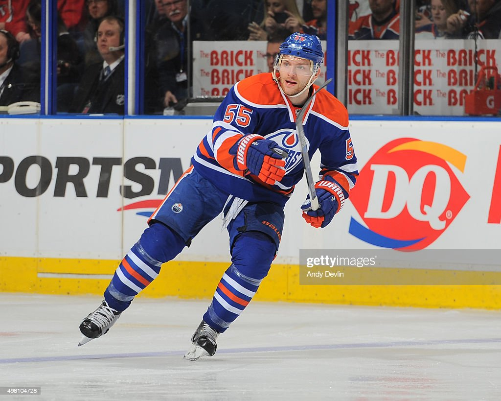 Mark Letestu of the Edmonton Oilers skates during a game against the New Jersey Devils on November 20 2015 at Rexall Place in Edmonton Alberta Canada