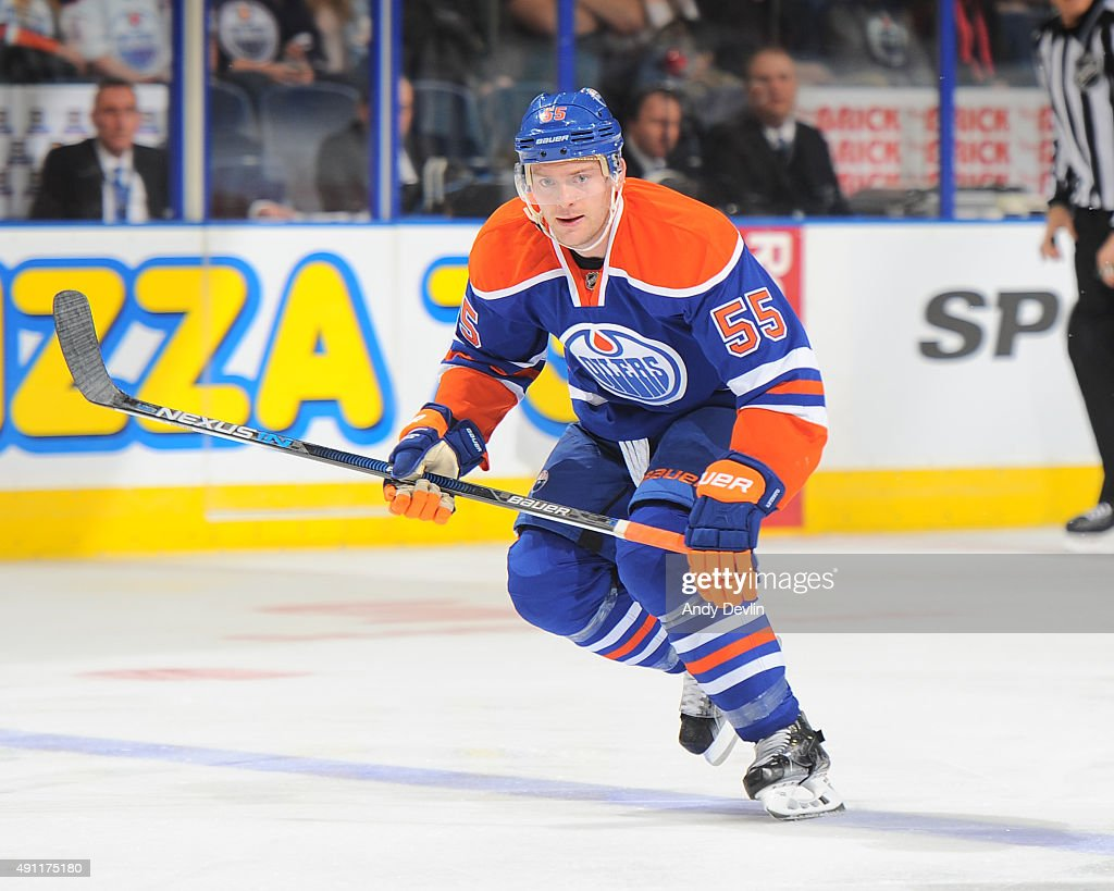 Mark Letestu of the Edmonton Oilers skates during a preseason game against the Arizona Coyotes on September 29 2015 at Rexall Place in Edmonton...