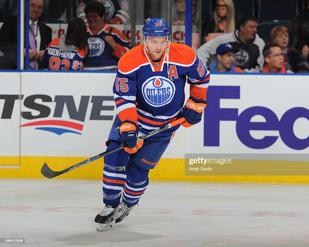 Mark Letestu of the Edmonton Oilers warms up prior to a game against the Los Angeles Kings on October 25 2015 at Rexall Place in Edmonton Alberta...