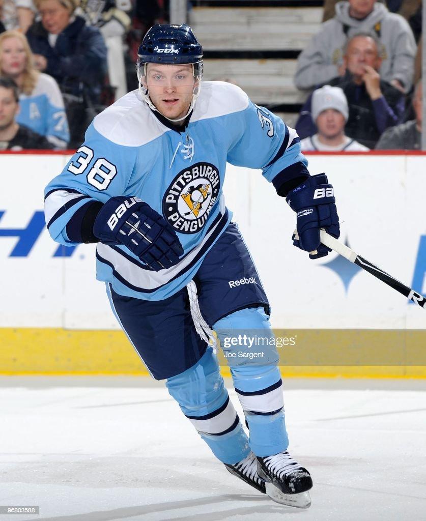 Mark Letestu of the Pittsburgh Penguins skates against the Nashville Predators on February 14 2010 at the Mellon Arena in Pittsburgh Pennsylvania