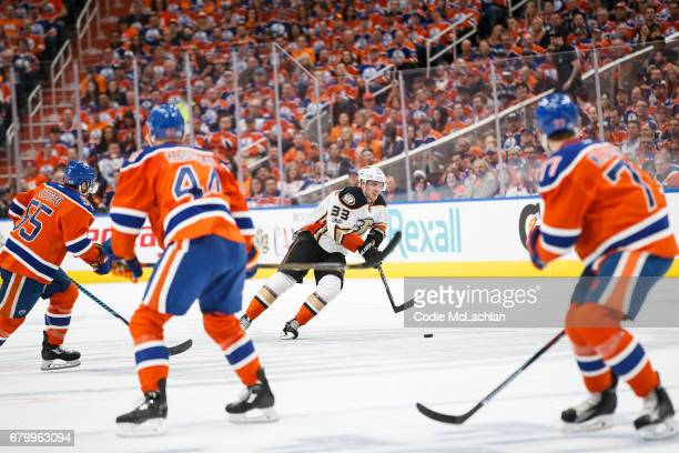 Mark Letestu Zack Kassian and Oscar Klefbom of the Edmonton Oilers watch Jakob Silfverberg of the Anaheim Ducks in Game Four of the Western...