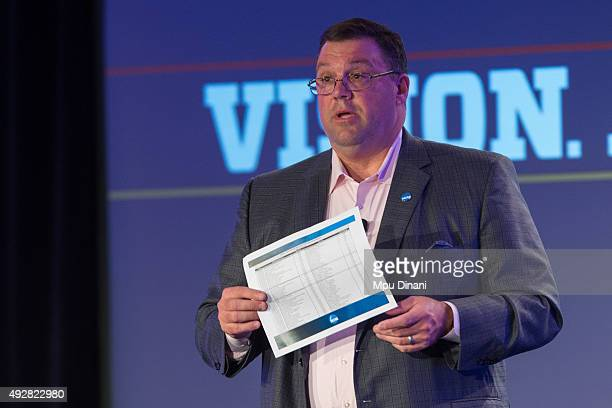 Mark Lewis discusses NCAA viewer ratings for women's sports during the espnW Summit 2015 at St Regis Monarch Resort on October 14 2015 in Dana Point...