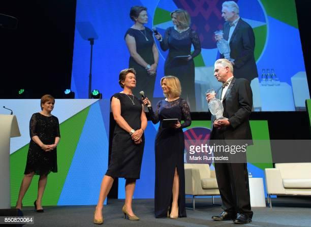Mark Lichtenhein Chairman of the Ladies European Tour and Catriona Matthew 2019 Solheim Cup European Captain are interviewed on stage by host Hazel...