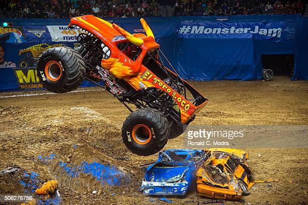 Mark List drives El Toro Loco during Monster Jam competition at Bridgestone Arena on January 10 2016 in Nashville Tennessee