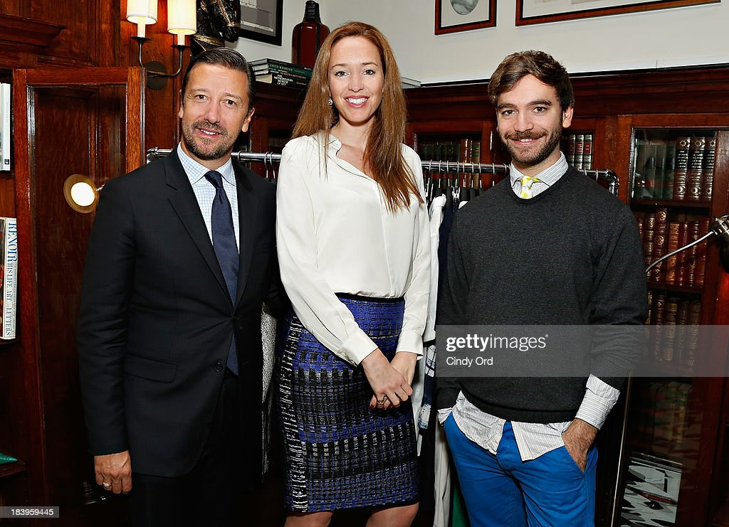 Mark Lukas, Sarah Barclay, Nick Flynn attend the L.K. Bennett Spring and Summer 2014 press days on October 10, 2013 in New York City.