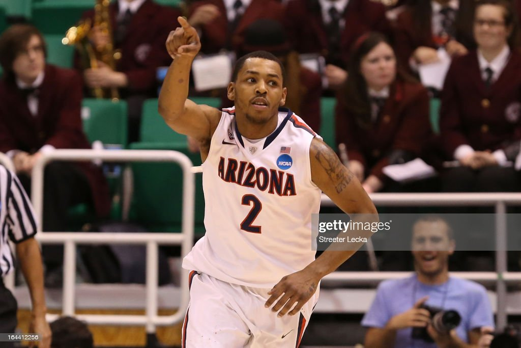 Mark Lyons #2 of the Arizona Wildcats reacts in the first half while taking on the Harvard Crimson during the third round of the 2013 NCAA Men's Basketball Tournament at EnergySolutions Arena on March 23, 2013 in Salt Lake City, Utah.