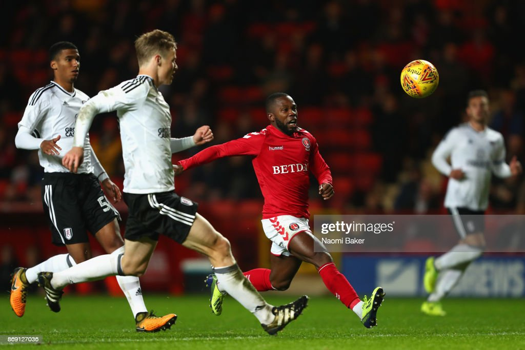 Mark Marshall of Charlton in action during the Checkatrade Trophy match between Charlton and Fulham at The Valley on November 1, 2017 in London, England.
