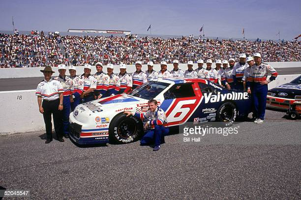 Mark Martin and the Roush Racing Valvoline Ford team pose for a portrait during the 1993 Coca Cola 600 at Charlotte Motor Speedway in Charlotte North...
