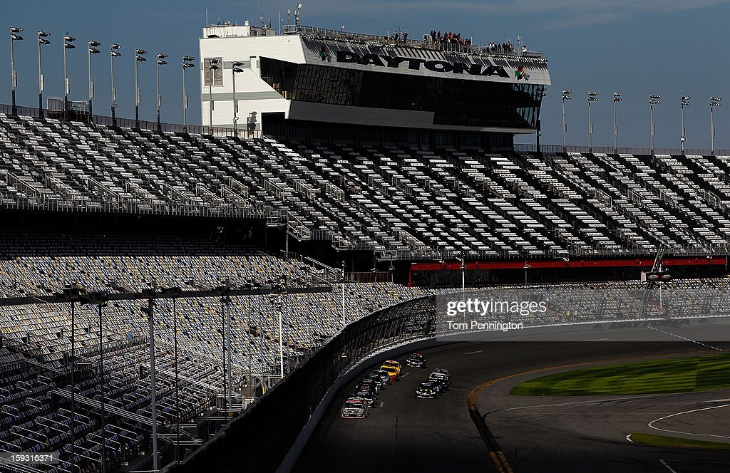 Mark Martin, driver of the #55 Toyota, leads the field during the NASCAR Sprint Cup Preseason Thunder testing at Daytona International Speedway on January 11, 2013 in Daytona Beach, Florida.