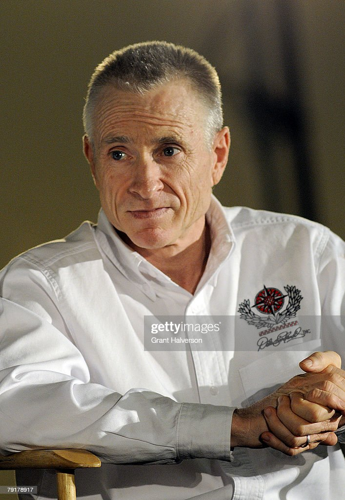 Mark Martin, driver of the #8 U.S. Army Chevrolet, listens to a question during a media event at Dale Earnhardt, Inc. on January 23, 2007 in Mooresville, North Carolina.