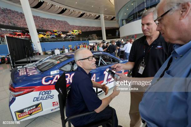 Mark Martin NASCAR Hall of Famer speaks to the media during the Darlington Throwback Paint Scheme Unveil at NASCAR Hall of Fame on July 25 2017 in...