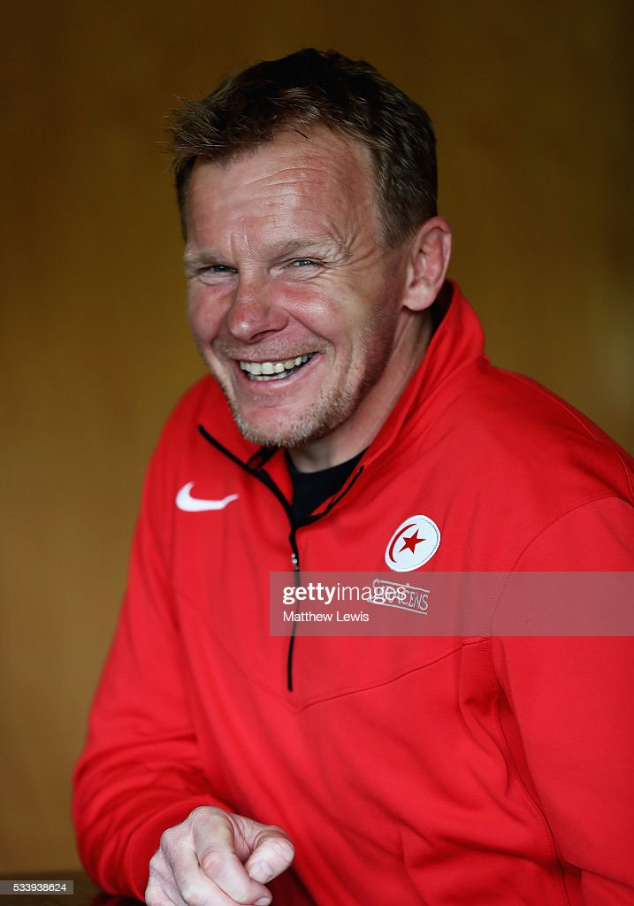 <a gi-track='captionPersonalityLinkClicked' href=/galleries/search?phrase=Mark+McCall&family=editorial&specificpeople=3570088 ng-click='$event.stopPropagation()'>Mark McCall</a>, Director of Rugby of Saracens talks to media during a Saracens Training Session on May 24, 2016 in St Albans, England.