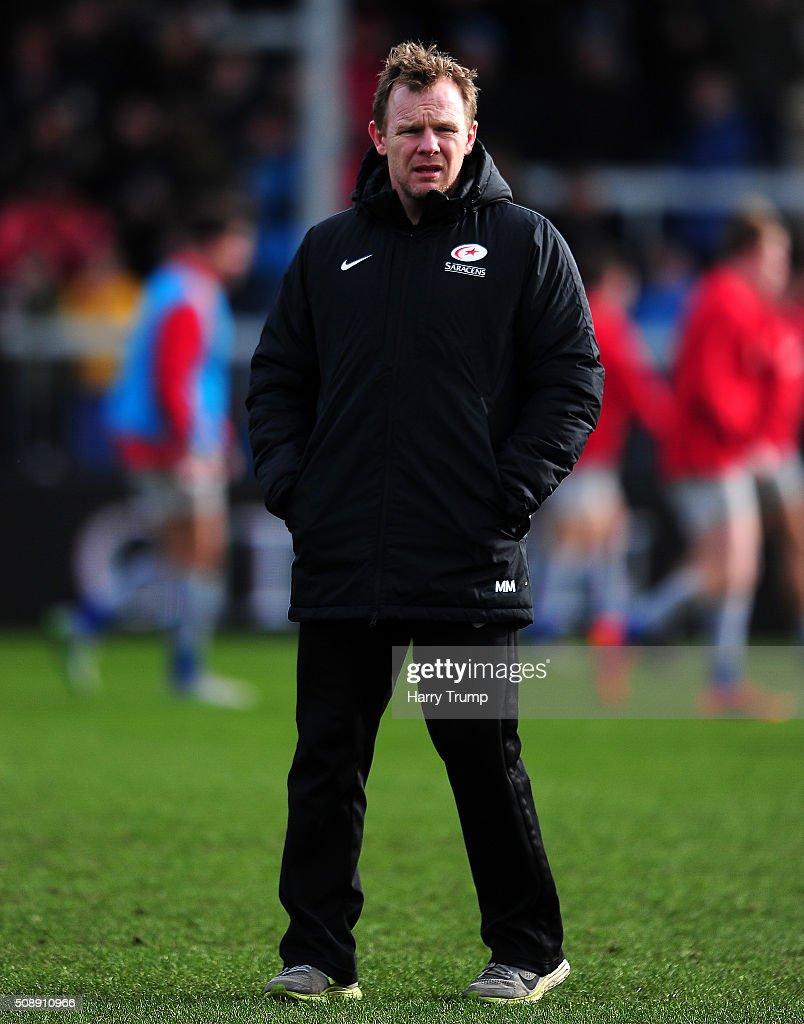 Mark McCall, Head Coach of Saracens looks on during the Aviva Premiership match between Exeter Chiefs and Saracens at Sandy Park on February 7, 2016 in Exeter, England.