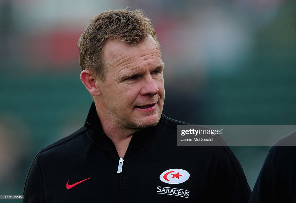 Mark McCall of Saracens looks on during the pre season friendly match between Saracens and Cornish Pirates at Honourable Artillery Company on August 22, 2013 in London, England.