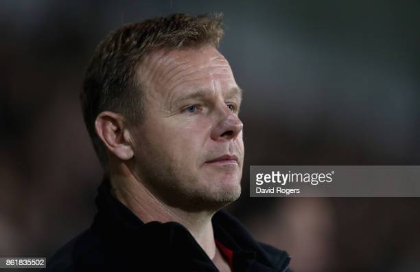 Mark McCall the Saracens director of rugby looks on during the European Rugby Champions Cup match between Northampton Saints and Saracens at...