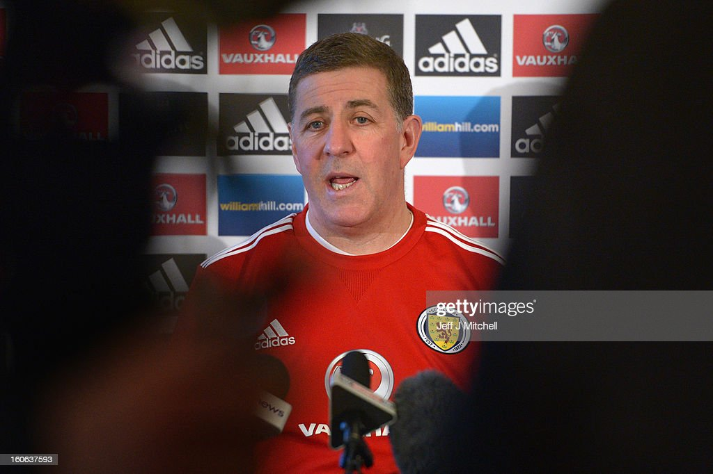 Mark McGhee assistant coach of Scotland chats with the media at Adore House Hotel following hisr first training session with Gordon Strachan as the...
