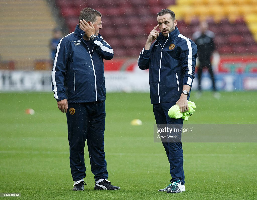 Mark McGhee Manager of Motherwell with newly appointed assistant player manager James McFadden during the pre match warm up before the BETFRED Cup...