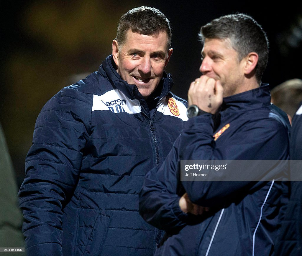 Mark Mcghee Motherwell manager has time to smile during the William Hill Scottish Cup Fourth Round between Motherwell and Cove Rangers at Fir Park on...
