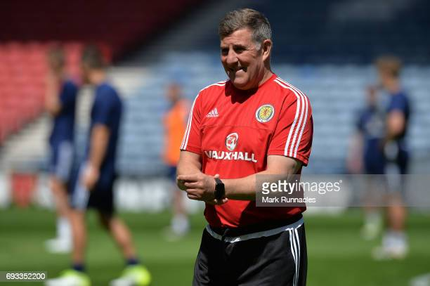 Mark McGhee the assistant manager of Scotland looks on during the Scotland training session at Hampden Park on June 7 2017 in Glasgow Scotland