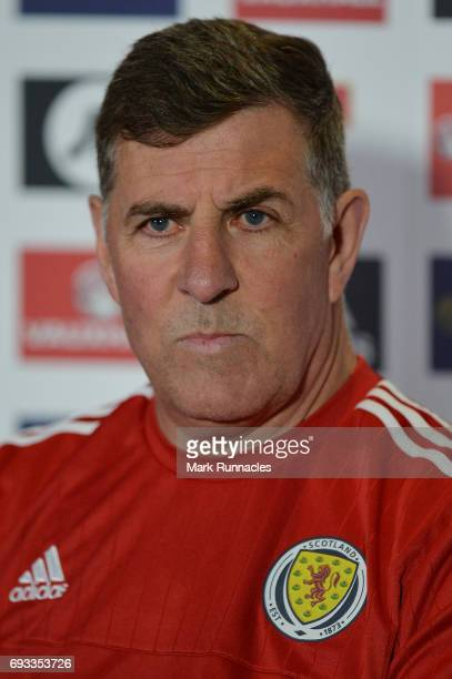 Mark McGhee the assistant manager of Scotland speaks to the media during the Scotland press conference at Hampden Park on June 7 2017 in Glasgow...