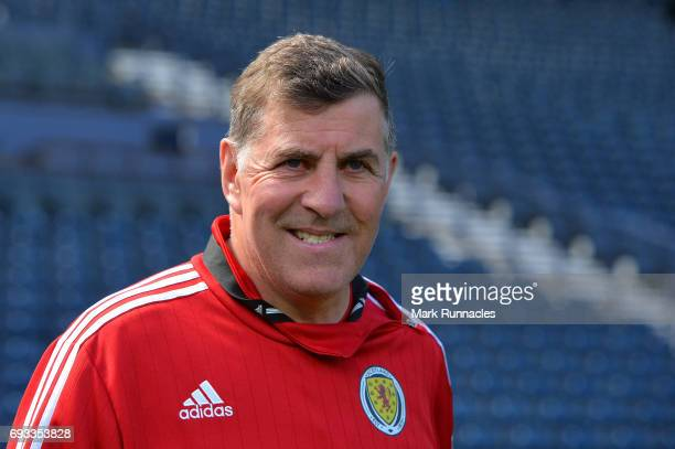 Mark McGhee the assistant manager of Scotland walks out onto the pitch during the Scotland training session at Hampden Park on June 7 2017 in Glasgow...