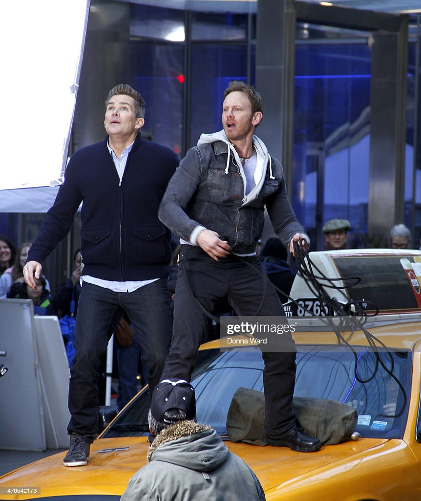 Mark McGrath and Ian Ziering film 'Sharknado 2 The Second One' on February 19 2014 in New York City
