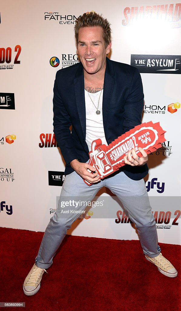 Mark McGrath arrives to the premiere of Sharknado 2 The Second One held at the Regal Cinemas at LA Live Thursday evening