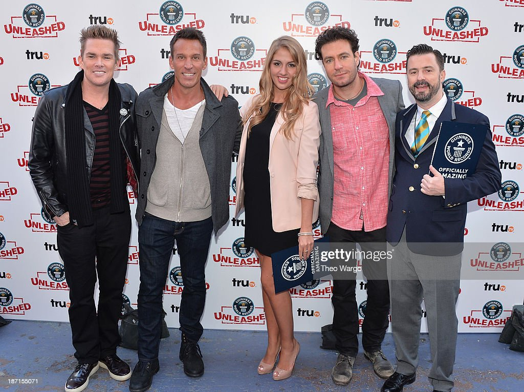 <a gi-track='captionPersonalityLinkClicked' href=/galleries/search?phrase=Mark+McGrath+-+Singer&family=editorial&specificpeople=171653 ng-click='$event.stopPropagation()'>Mark McGrath</a>, <a gi-track='captionPersonalityLinkClicked' href=/galleries/search?phrase=Dan+Cortese&family=editorial&specificpeople=754844 ng-click='$event.stopPropagation()'>Dan Cortese</a>, Liz Smith, Zach Selwyn, and Stuart Claxton pose at the Guinness World Records Unleashed Arena in Times Square on November 6, 2013 in New York City. (Photo by Theo Wargo/WireImage) 24244_003_TW_0124.JPG