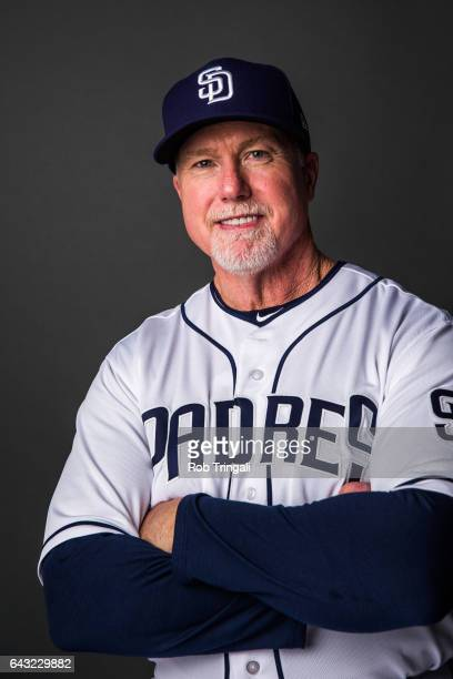 Mark McGwire bench coach of the San Diego Padres poses for a portrait at the Peoria Sports Complex on February 19 2017 in Peoria Arizona