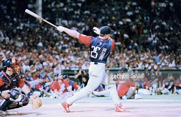 Mark McGwire of the National League bats during the 1999 MLB Homerun Derby on July 12 1999 at Fenway Park in Boston Massachusetts