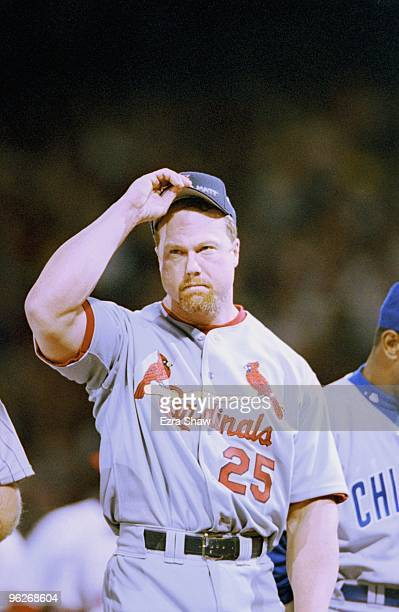 Mark McGwire of the National League looks on during the 1999 MLB AllStar Game at Fenway Park on July 13 1999 in Boston Massachusetts