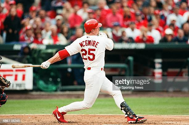 Mark McGwire of the St Louis Cardinals bats against the Atlanta Braves during Game 2 of the NLDS at Busch Stadium on October 10 2000 in St Louis...