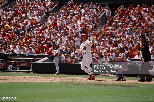 Mark McGwire of the St Louis Cardinals bats against the Chicago Cubs at Busch Stadium on August 14 1999 in St Louis Missouri The Cubs beat the...