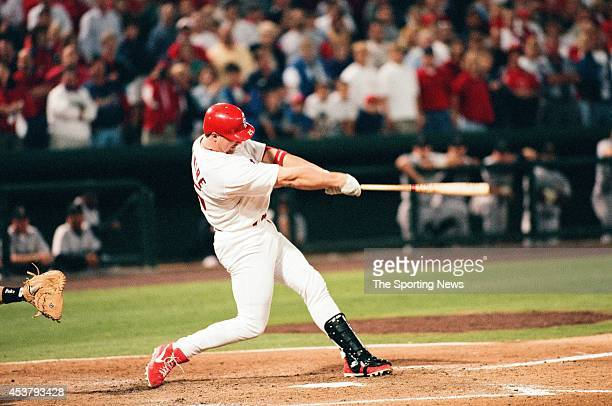 Mark McGwire of the St Louis Cardinals bats against the Houston Astros at Busch Stadium on September 23 1998 in St Louis Missouri