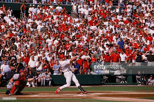 Mark McGwire of the St Louis Cardinals bats against the Montreal Expos at Busch Stadium on September 26 1998 in St Louis Missouri