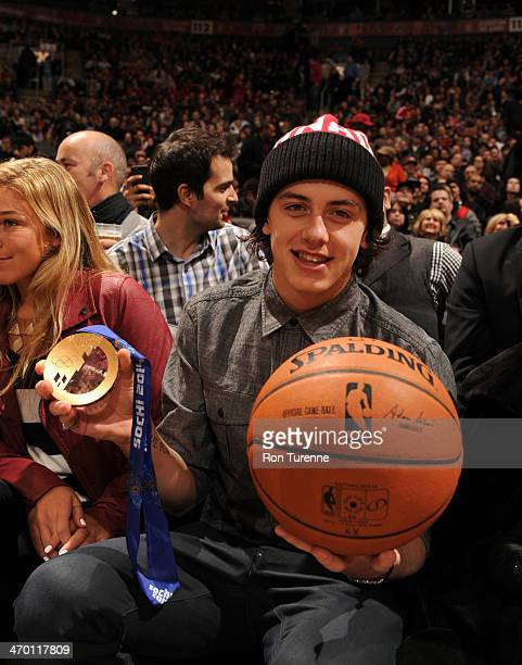 Mark McMorris a Team Canada snowboarder shows off his Bronze Medal at the Toronto Raptors game against the Atlanta Hawks on February 12 2014 at the...