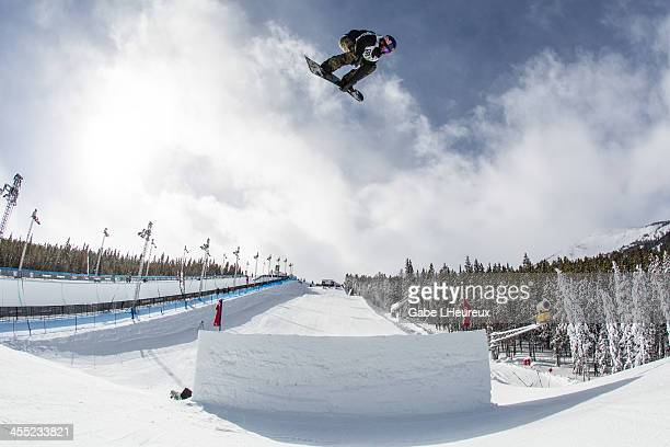 Mark McMorris mid air during slopestyle practice in the 2013 Dew Tour on December 10 2013 in Breckenridge Colorado